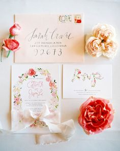 Perfectly floral invitations: http://www.stylemepretty.com/2014/09/16/romantic-hillside-wedding-in-san-clemente/   Photography: Kurt Boomer - http://kurtboomer.com/