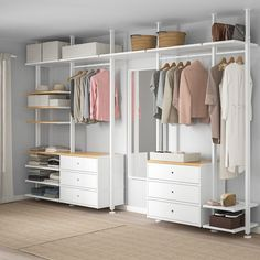 ELVARLI 5 sections, white, bamboo. ELVARLI storage system adapts to your space. The open solution with durable bamboo shelves creates an attractive display of your belongings. Ikea Bedroom, Bedroom Furniture, Bedroom Decor, No Closet Bedroom, Closet Wall, Master Bedroom, Diy Master Closet, Closet Dresser, Ikea Closet