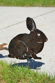 Metal Bunny  Garden Stake by RCFCreations on Etsy, $20.00