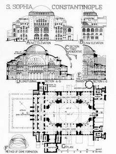 Byzantine Architecture, Ancient Architecture, Art And Architecture, Architecture Details, Hagia Sophia Istanbul, Sainte Sophie, Architecture Drawing Art, Elevation Drawing, Jesus Painting
