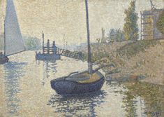 "The ""Ponton de la Félicité"" at Asnières (Opus no. 143), 1886, Paul Signac, Van Gogh Museum, Amsterdam (purchased with support from the BankGiro Loterij, the Rembrandt Association, with the additional support of her Claude Monet Fonds, Het Liesbeth van Dorp Fonds and Themafonds 19de-eeuwse Schilderkunst, the Mondriaan Fund, and the members of The Yellow House)"