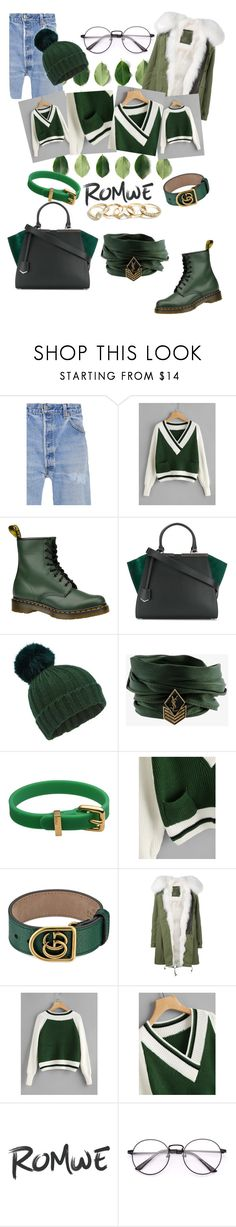 """""""Romwe🍃"""" by giossssii ❤ liked on Polyvore featuring RE/DONE, Dr. Martens, Fendi, Miss Selfridge, Yves Saint Laurent, Marc by Marc Jacobs, Gucci, Mr & Mrs Italy and GUESS"""