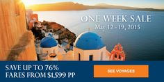 One Week Sale | Save up to 76% | Fares from $1,599 pp http://www.cruiseshipcenters.ca/jeanninepringle