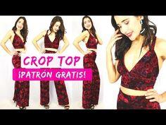Cómo coser un CROP TOP (patrones gratis) | DIY - YouTube Diy Crop Top, Crop Tops, Diy Tops, Sewing Clothes, Diy Fashion, Crafty, Swimwear, Palazzo, Dresses