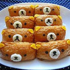 Rilakkuma Inarizushi  *inarizusi:sushi rice stuffed in a fried bean curd  ...make this face on a twinkie?