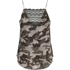 CUSTOMMADE Elvira Camo Lace Camisole - Tarmac Green (6.355 RUB) ❤ liked on Polyvore featuring intimates, camis, tarmac green, strappy cami, lace camis, green camisole, camo cami and v neck cami