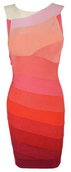 'Soleil' Asymmetric Coral Orange Bandage Bodycon Dress