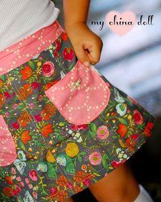 Pattern: Girls Lovebug A-line Skirt by Pattern Emporium (Mini, Knee Length & Maxi) Skirt Made by : My China Doll #handmade #sewing #pattern