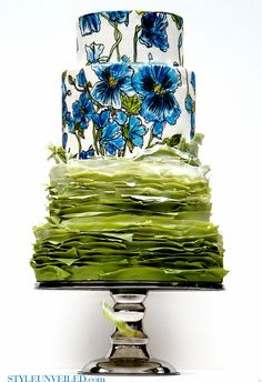 Original. Amazing - Green Frilly Wedding Cake with Blue Pansy Design