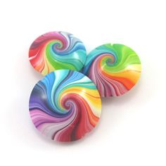 Colorful swirl lentil beads Polymer Clay beads in by ShuliDesigns, $11.00