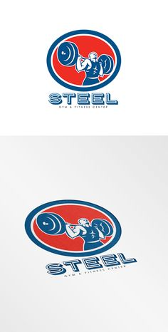 Steel Gym Fitness Center Logo .Illustration of a weightlifter lifting barbell over shoulder set inside circle shape on isolated background done in retro style. 100% re-sizeable vectors. Logo