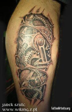 Resultado de imagem para Mechanical Gear Tattoo