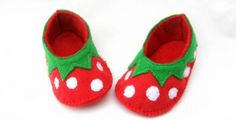 Strawberry baby booties  From The Crafty Button UK