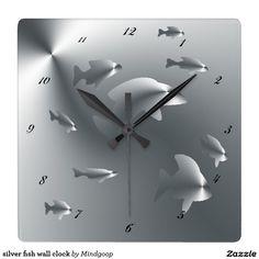 silver fish wall clock