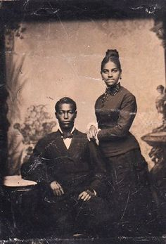 Late 1800s Tintype Portrait of African American Couple