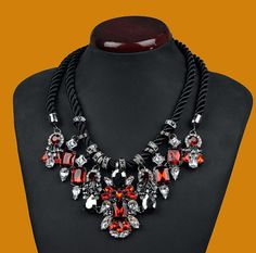 New Luxury Red Crystal Resin Droplets Flower Statement Necklace Black Rope
