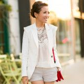 Lace shirt, blazer, shorts