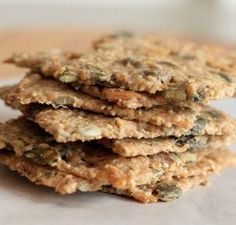 """Knækbrød or Danish crackers with seeds - recipe """"Knækbrød or Danish crackers with seeds"""", for the aperitif to go with the soup for small n - Healthy Vegetable Recipes, Healthy Cooking, Healthy Snacks, Vegetarian Recipes, Cooking Recipes, Scandinavian Food, Low Calorie Snacks, Galletas Cookies, Crisp Recipe"""