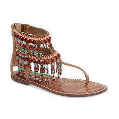 Sam Edelman 'Gabriel' Beaded Fringe Sandal ($130) ❤ liked on Polyvore featuring shoes, sandals, saddle leather, flat leather sandals, boho sandals, toe thongs, leather shoes and flat thong sandals