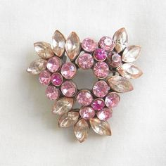 Vintage Shades of Pink Rhinestones Flower by BillsVintageVault, $14.00