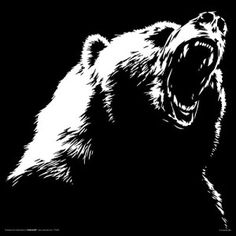 Grizzly Bear Roar Modern Illustrated Animal Decorative Art Poster Print 12x12