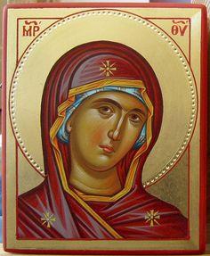 Theotokos by Mario Milev Greek Icons, Russian Icons, Blessed Mother Mary, Byzantine Icons, Holy Mary, Religious Icons, Catholic Art, Art Icon, Orthodox Icons
