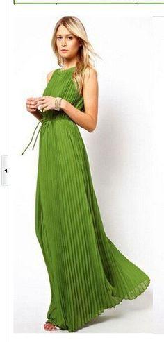 2016 summer new fashion women's pleated long dress green max dress Beach casual dress