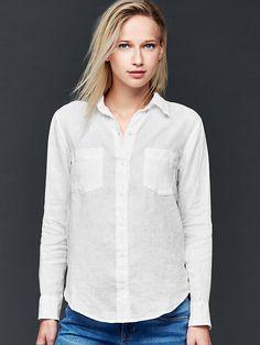 Linen boyfriend shirt | Gap