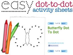Easy dot to dot printables: dot to dots help with rote counting and fine motor skills