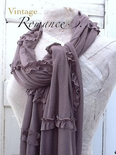 Taupe Scarf or Shawl  Raw Ruffles Cotton Knit Raw by CamillaCotton,