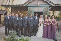 uneven bridal party with purple bridesmaids dresses : photographybyharmony.com