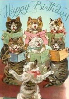 Happy Birthday Vintage, Happy Birthday Images, Birthday Pictures, Happy Birthday With Cats, Birthday Cats, Cat Birthday Cards, July Birthday, Free Birthday, Birthday Quotes