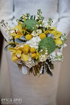 yellow and gray wedding bouquet    http://sophisticatedfloral.com/