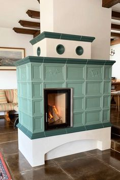 Stove Paint, Green And Grey, Blue Grey, Treehouse, Rustic Farmhouse, Fireplaces, Tiny House, Living Room, Interior Design