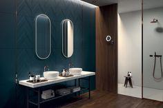 Separate shower room Deep blue wall Dark wood