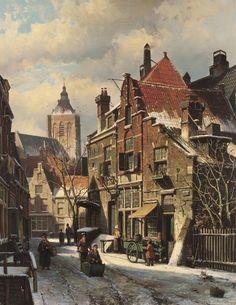 Willem Koekkoek (Amsterdam 1839-1895 Nieuwer-Amstel (thans Amstelveen)) Besneeuwde stad - Kunsthandel Simonis en Buunk, Ede (Nederland).