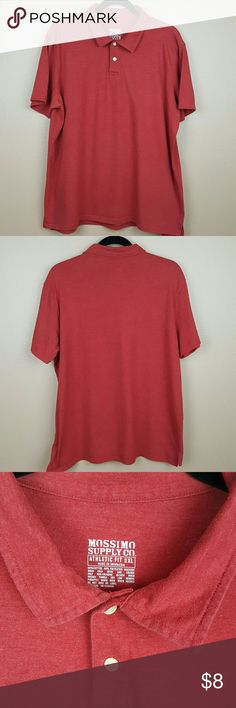 Mens Red Shurt by Mossimo from Target size XL Mens red blended shirt by Mossimo from Target.  • Size XL, fits large. • 60% Cotton,  40% Polyester. Soft fabric. • Stretchy fabric. • Machine washable. • Light piling. • Laying flat: Underarm across 23.5 inches. Length 29 inches.  Looks great with jeans for casual or kahkis for business casual. Mossimo Supply Co Shirts Polos