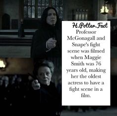Bonus fact: Maggie Smith was doing chemo while filming Fans D'harry Potter, Harry Potter Facts, Harry Potter Quotes, Harry Potter Love, Harry Potter Universal, Harry Potter Fandom, Harry Potter World, Severus Snape, Snape Harry