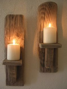 2 Irish Driftwood Wall Candle Sconces, by*Emerald Aisle