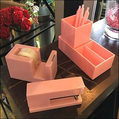 Pink Desk Accessories, Pink Pen Propping – Fixtures Close Up Pink Gold Bedroom, Pink Desk, Retail Fixtures, Pens And Pencils, Slat Wall, Desk Accessories, Visual Merchandising, Pink And Gold, Modern Design