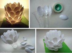 colher de plástico como luminaria Decoração com Reciclagem