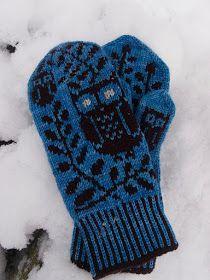Tanssivat Puikot: Pieniä pöllöjä Knitted Mittens Pattern, Knitted Owl, Knit Mittens, Knitted Gloves, Knitting Socks, Knitting Patterns, Crochet Patterns, Knit Socks, Crochet Cross