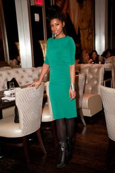 Green Wth Envy. #Essence #StreetStyle Designer Iris Hopkins wears a self-designed dress paired with Dollhouse shoes.