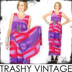 vtg 70s 80s boho ETHNIC TRIBAL hippie TIE-DYE draped CAPE FESTIVAL maxi dress OS $28.00