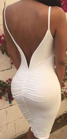 Back It Up White Spaghetti Strap Open Back Ruched Bodycon Midi Dress