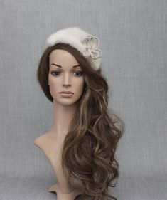 Ivory real mink fur luxorious fascinator hat. One of the kind designer headpiece. Fascinator Hats, Fascinators, Headpiece, Silver Hats, Face Veil, Bridal Hat, Wedding Hats, White Bridal, Mink Fur