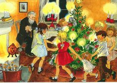 Jul i Bulderby (Christmas in Noisy Village) by Astrid Lindgren (illustration by Ilon Wikland) Swedish Christmas, Christmas Past, Christmas Books, Scandinavian Christmas, Vintage Christmas Cards, A Christmas Story, Vintage Illustration, Winter Illustration, Christmas Illustration