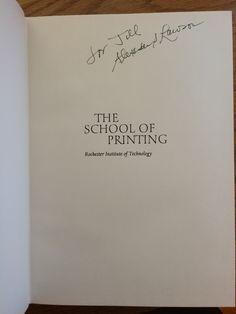 Alexander Lawson, The School of Printing. Purchased pre-signed via eBay.