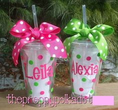 Personalized 16oz Tumbler cup with Lid & Straw CLEAR. $14.50, via Etsy.
