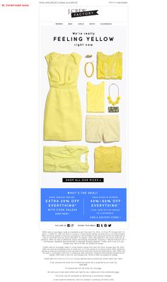 J.Crew Factory 4/27/14 yellow color story